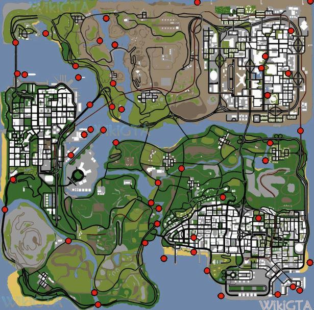 mapa ostras GTA San Andreas