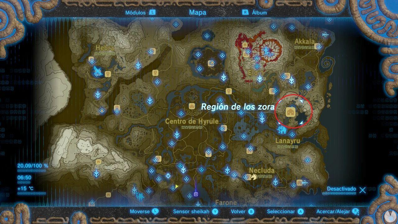 Región de los Zora Zelda Breath of the Wild